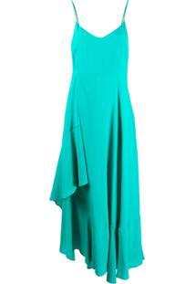 Twin-Set Slip Dress Assimétrico - Azul
