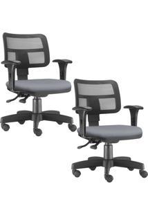Kit 02 Cadeiras Giratã³Rias Lyam Decor Zip Corino Cinza - Cinza - Dafiti