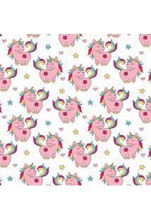 Papel De Parede Quartinhos Adesivo Infantil Unicórnio Rosa 2,70X0,57M