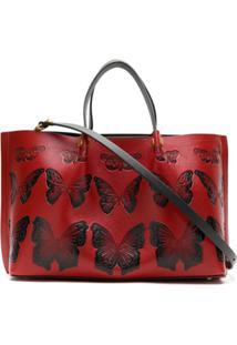 Valentino Bolsa Tote De Couro Estampada - Vermelho