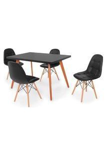 Conjunto Mesa De Jantar Gih 120X80Cm Preta Com 4 Cadeiras Botonê - Preto
