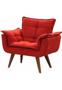 Poltrona Decorativa Opalla Suede Vermelho - Ds Mã³Veis - Vermelho - Dafiti