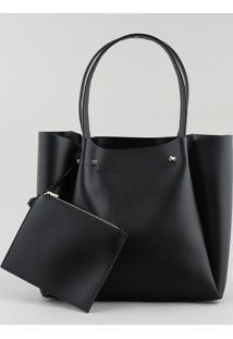 Bolsa Feminina Shopper Grande Com Piercings Preta - Único