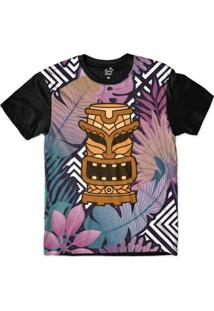 Camiseta Long Beach Totem Floral Torre Sublimada Colors Masculina - Masculino-Preto