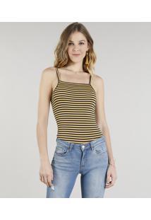 Body Feminino Básico Canelado Listrado Alças Finas Amarelo