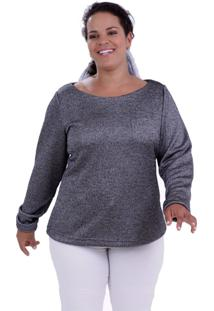 Blusa Tricô Andy Plus Size Vickttoria Vick Plus Size Cinza