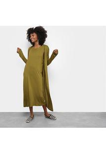 2d3a8b31e R$ 319,99. Zattini Vestido Cantão Evasê Midi Cardigã Removível - Feminino- Verde