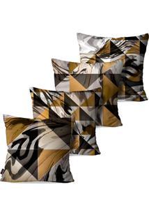 Kit Com 4 Capas Para Almofadas Pump Up Decorativas Triângulos Abstrato Geométrico 45X45Cm