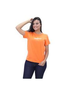 Blusa Feminina Com Estampa T-Shirt Colcci Original Novidade Laranja