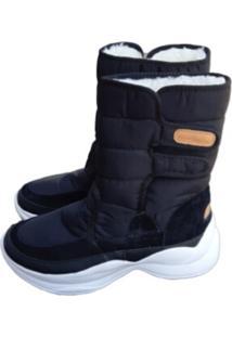 Bota Forrada Andarilha Neve E Frio Velcro Sola Branca