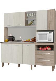 Cozinha Compacta Kit'S Paraná Jade, 7 Portas, 2 Gavetas, Nicho Para Micro-Ondas