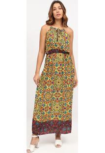 Vestido Longo Floral Com Amarraã§Ã£O- Amarelo & Azul ClaroãGua Viva