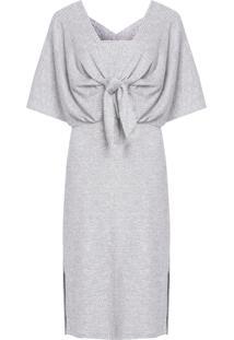Vestido Midi Sobreposição Canelado - Cinza