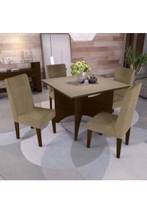 Conjunto De Mesa De Jantar Com 4 Cadeiras Franz Suede Bege E Off White