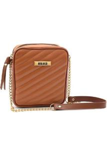 Bolsa Maria Milão Shoulder Bag Transversal Matelassê - Feminino-Caramelo