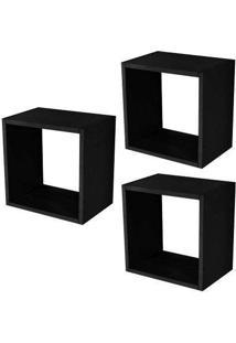 Nicho Cubo Preto Kit Com 3 Peças