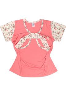 Conjunto Pijama Amamentação Com Recorte Peito Floral Goiaba - Amigo Do Sono