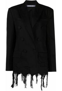 Alexander Wang Distressed Hem Double-Breasted Blazer - Preto