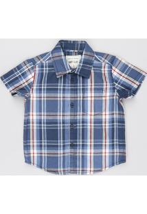 Camisa Infantil Estampada Xadrez Com Bolso Manga Curta Azul