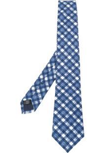 Tagliatore Gravata Com Bordado Xadrez - Azul