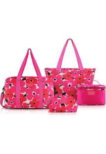 Kit Bolsa C/ 4 Peças Jacki Design Poliéster - Feminino-Pink