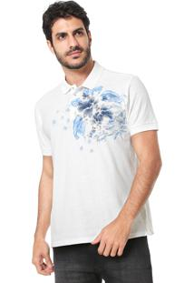 Camisa Polo Aramis Reta Floral Aqua Off-White