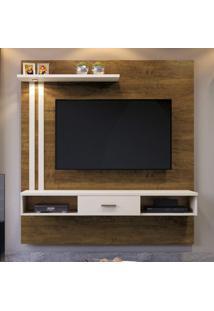 Painel Para Tv Até 55 Polegadas 1 Gaveta 3 Prateleira Mavaular Canion/Off White