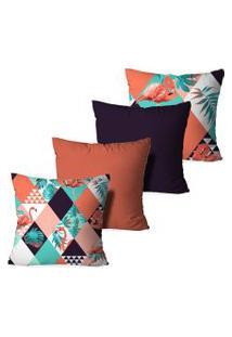 Kit 4 Capas Para Almofadas Decorativas Love Decor Flamingos Multicolorido Laranja