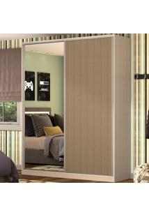 Guarda-Roupa Casal 2 Portas Correr 1 Espelho 100% Mdf Rc2003 Noce/Ocre - Nova Mobile