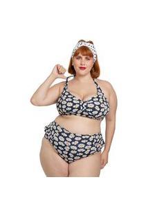 Biquíni Calcinha Almaria Plus Size Bambina Hot Pants Margarida Preto