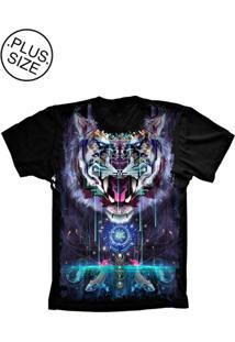 Camiseta Lu Geek Plus Size Psicodélica Preto