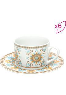 Jogo De Xícaras D Chá Hype Style- Branco & Azul Claro