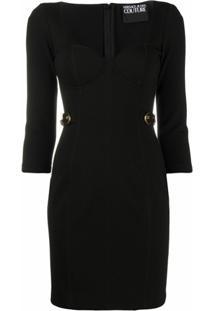 Versace Jeans Couture Vestido Midi Com Fivela - Preto