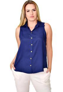Camisa Sem Manga Energia Fashion Azul Marinho