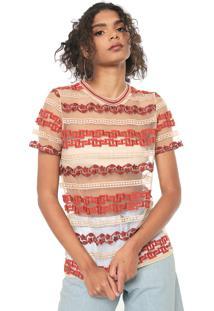 Camiseta Colcci Tule Bordada Bege/Laranja