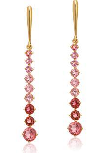 Brinco De Ouro 18K Longo Pêndulo Com Pedras De Turmalina Rosa