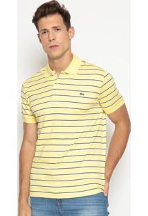 Polo Regular Fit Listrada- Amarela & Azul Marinholacoste