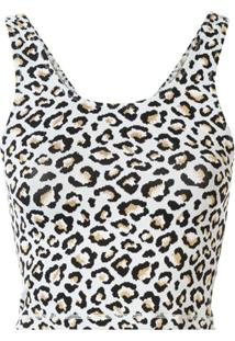 The Upside Blusa Cropped Com Estampa De Leopardo - Estampado
