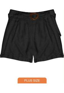 Shorts Plus Size Viscolinho Secret Glam Preto