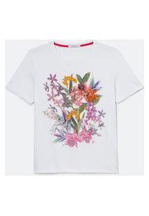 Blusa Manga Curta Estampa Flores E Aplicações | Cortelle | Branco | P