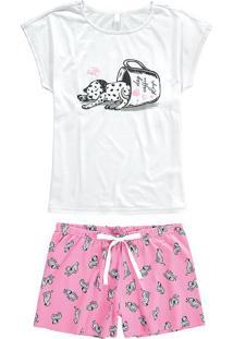 Pijama Curto Estampado Dog Malwee Liberta
