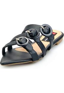 Sandalia Love Shoes Rasteira Bico Folha Três Fivelas Preto