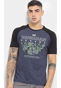 Camiseta Hd Raglan Branch Masculina - Masculino-Azul