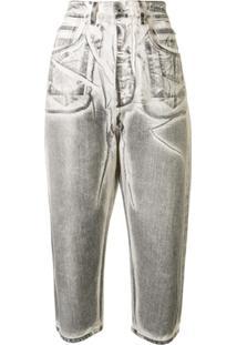 Rick Owens Drkshdw Calça Jeans Cropped Com Cintura Média - Cinza