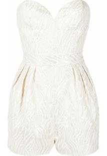 Rotate Strapless Jacquard-Woven Playsuit - Neutro