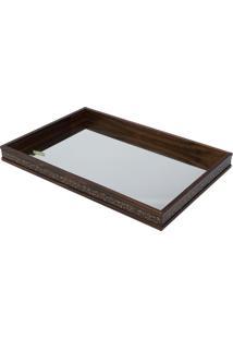 Bandeja De Bambu Com Espelho 51X35Cm Coquinho Woodart