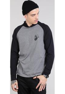 Camiseta Masculina Caveira Com Capuz Manga Longa Raglan Cinza Mescla