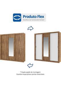 Guarda Roupa Casal Com Espelho 3 Portas De Correr Elus Carraro Flex Color Native/Branco