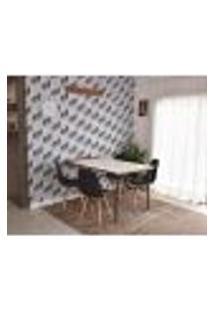 Conjunto De Mesa Dobrável Retrátil 1,40 Branco/Noronha + 4 Cadeiras Botonê - Preta