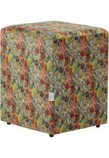 Puff Quadrado Cubo Suede Boom Colorido